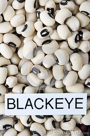 Dried black eyed beans with label close-up