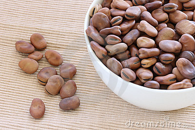 Dried brown beans in bowl