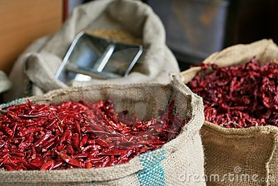 Dried chilli in hay stacks