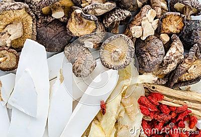 Dried Chinese herbs Stock Photo