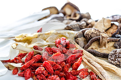 Dried Chinese herbs Stock Photo