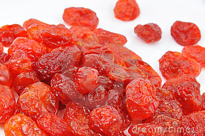 Dried Cornelian Cherries on White