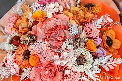 Dried flowers bouquet in flower shop.
