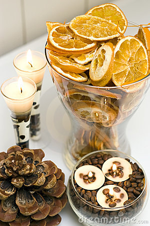 Dried fruit candles display