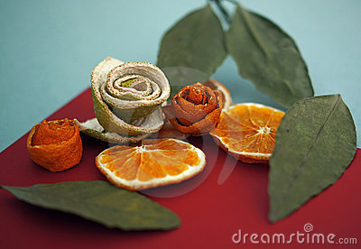 Dried fruit and leaves