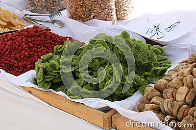 Dried fruit in market. Cyprus