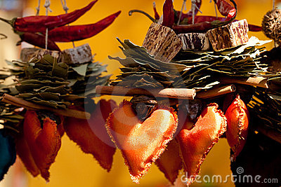 Dried fruit, vegetables and spices at the fair