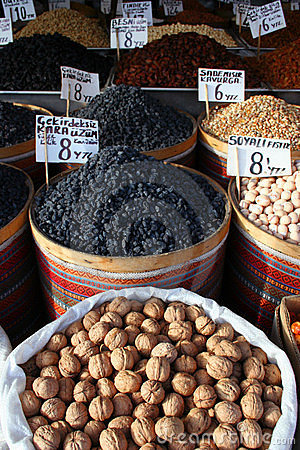 Dried fruits on display at market