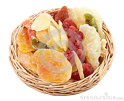 Dried fruits in a little basket