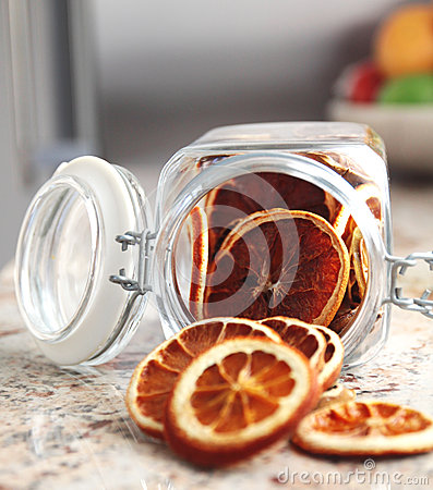 Dried fruits oranges placed in the jar