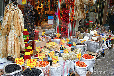 Dried fruits and spices on display