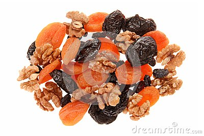 Dried fruits and walnuts.