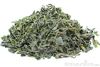 Dried green tea leaves