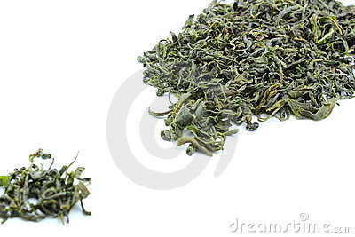 Dried green tea leaves