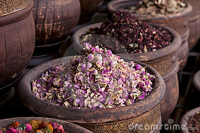 Dried herbs flowers (rose) in the  Marrakesh