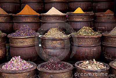 Dried herbs flowers spices in the  Marrakesh