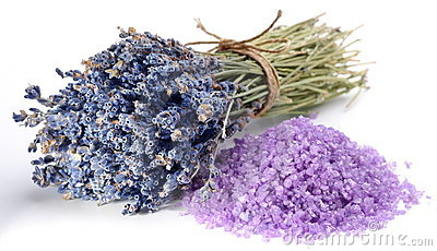 Dried lavender flowers and flavored sea salt