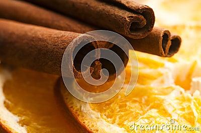 Dried orange and cinnamon sticks