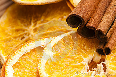 Dried orange and cinnamon sticks