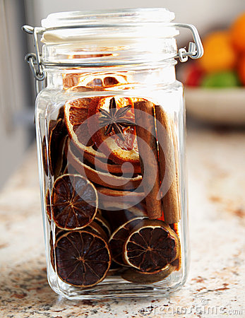 Dried oranges sealed in a jar - Christmas ornament
