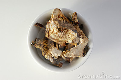 Dried organic porcini mushroom in a bowl
