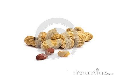 Dried peanuts in closeup