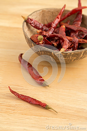 Dried red chili on wooden background