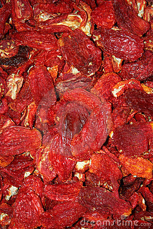 Dried red peppers background