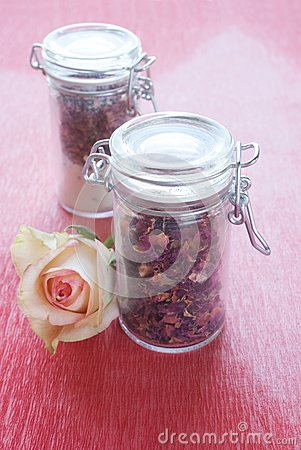 Dried rose petals in a jar