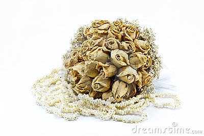 Dried roses bouquet isolated