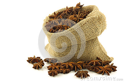 Dried star anise  (Illicium verum) in a burlap bag
