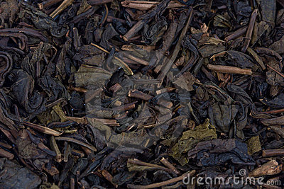 Dried tea leaves.