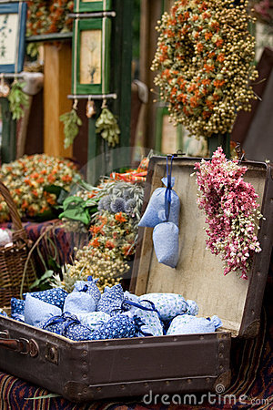 Dried wild flowers and handmade decor in old fashi