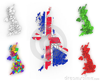 Driedimensionele kaart van Groot-Brittannië