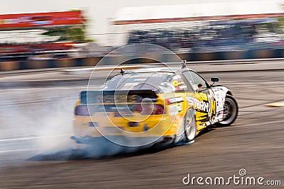 Drift car drifting in D1 Grand Prix title