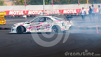 Drift car at Hell King of Europe, 2012 copy space Editorial Stock Image