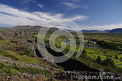 Drift of the tectonic plates at Pingvellir Iceland