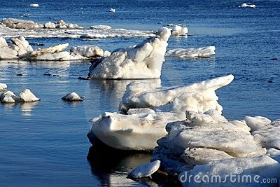 Drifting Ice on river