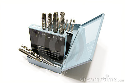 Drill bits and taps in a metal box