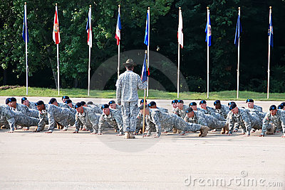 Drill Instructor Orders Push-ups Editorial Stock Photo