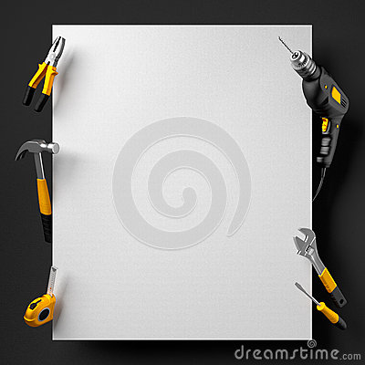 Free Drill, Pliers, Hammer And Construction Tools On A Black And White Royalty Free Stock Photography - 60023577