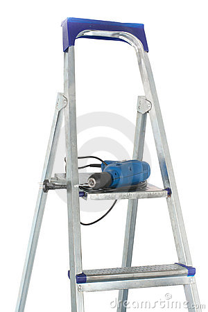 Drill and stepladder