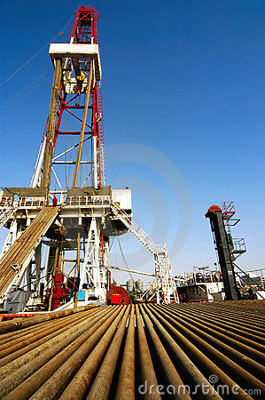 Drilling rig with drill pipe