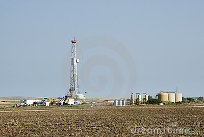 Drilling Rig & gas storage tanks