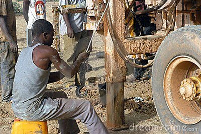 Drilling of a well in Burkina Faso Faso Editorial Stock Photo