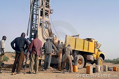 Drilling of a well in Burkina Faso Faso Editorial Image