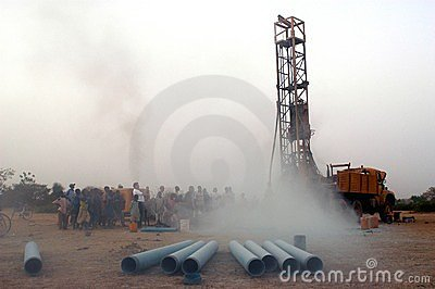 Drilling of a well in Burkina Faso Faso Editorial Photography