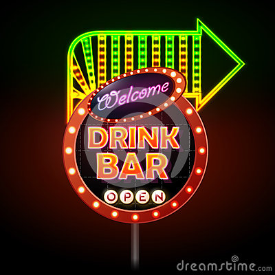 Free Drink Bar Neon Sign Royalty Free Stock Images - 70738419