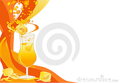 Drink card with ice and oranges