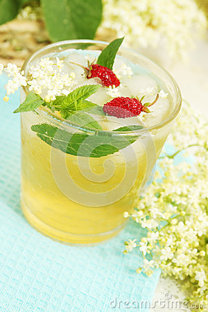 Free Drink From Elder With Strawberries Stock Image - 24999211